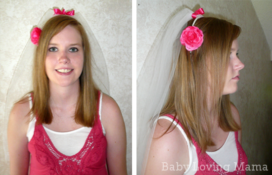 Bridal Shower Hairstyle : Bridal shower no sew veil craft tutorial finding zest