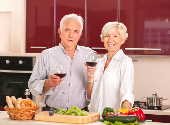 Retired Couple with Wine