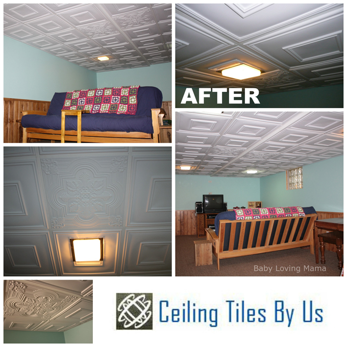 Basement Remodel With Ceiling Tiles By Us + GIVEAWAY
