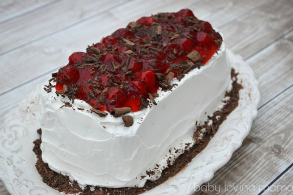 Jello 123 Cherry Poke Cake with Chocolate Shavings