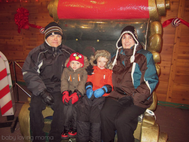 Grandma and Grandpa with our boys at our local festival of lights.