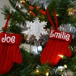 Personal Creations Holiday Ornaments Knit Personalized Mittens Red