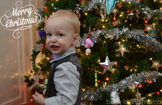 Wesley with Christmas Tree in Mamas and Papas suit
