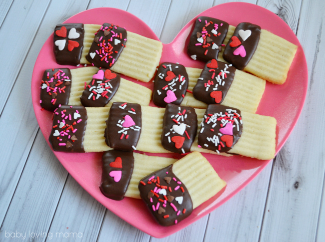 Chocolate Dipped Spritz with hearts for Valentines Day