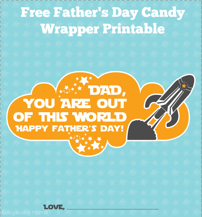 Fathers Day Rocket Candy Wrapper Free Printable