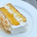 Mango Coconut Poke Cake Sliced