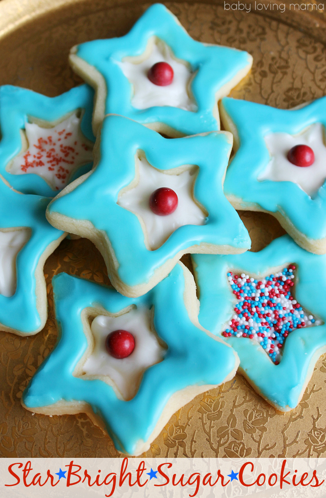 Star Bright Sugar Cookies in Red White and Blue
