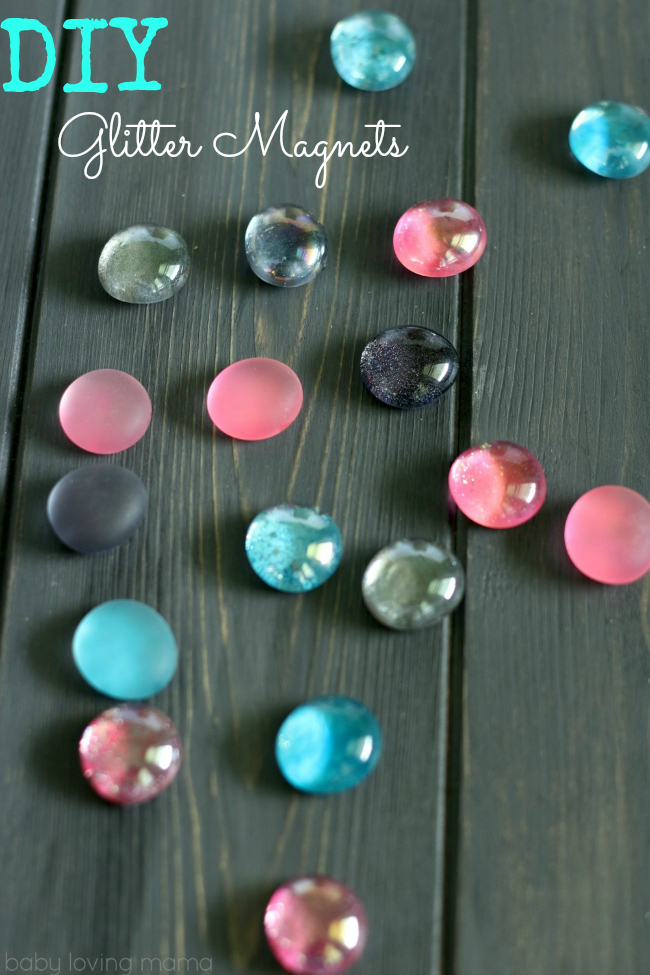 These DIY Glitter Magnets are an easy nail polish craft to make with glass pebbles! Make them to keep, sell or as homemade gifts! Perfect craft for all ages, including teens.