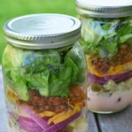 Cheeseburger Salad in a Jar with Special Sauce