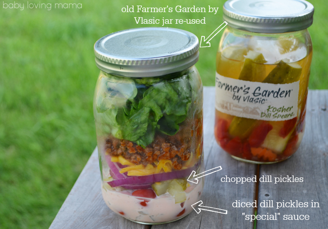 Vlasic Farmers Garden Cheeseburger Salad in a Jar Pickle Contents and Jar Reused