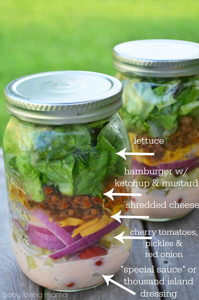 Vlasic Farmers Garden Cheeseburger Salad in a Jar with Contents