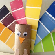 Paint Chip Turkey Craft with Paper Roll for Thanksgiving