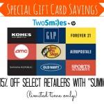TwoSmiles Gift Card Savings Summer15