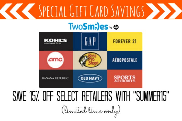TwoSmiles Gift Card Savings Summer15