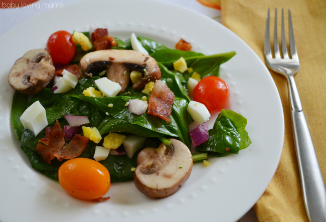 Bacon Spinach Salad with Red Wine Vinaigrette