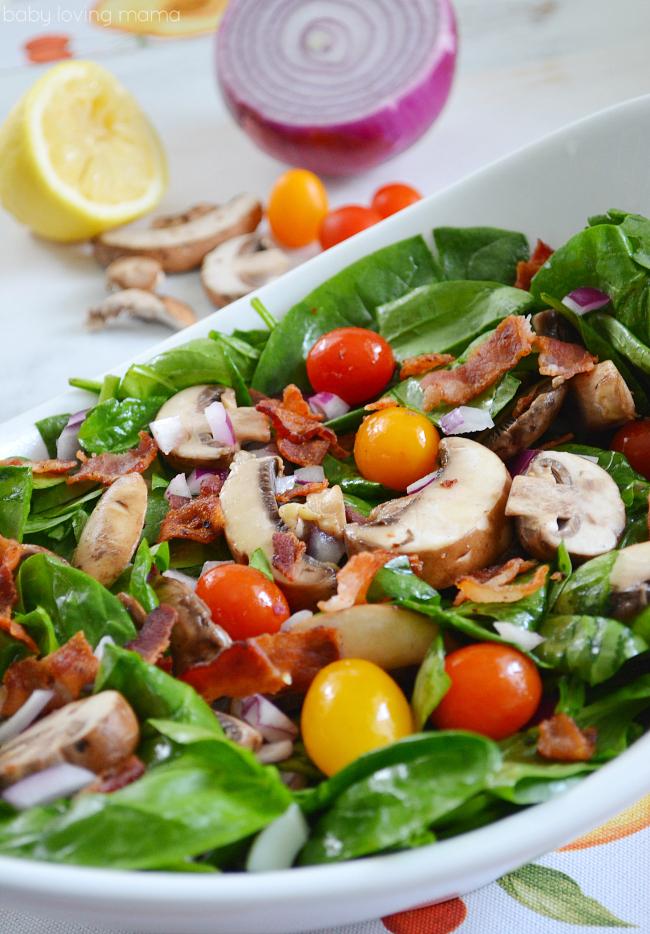 Spinach Bacon and Mushroom Salad
