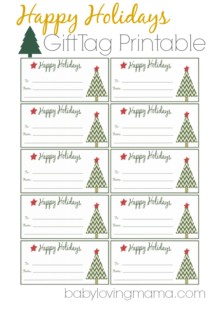 happy holidays gift tags free printable. Black Bedroom Furniture Sets. Home Design Ideas