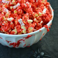 Bloody Popcorn with Bones for Halloween