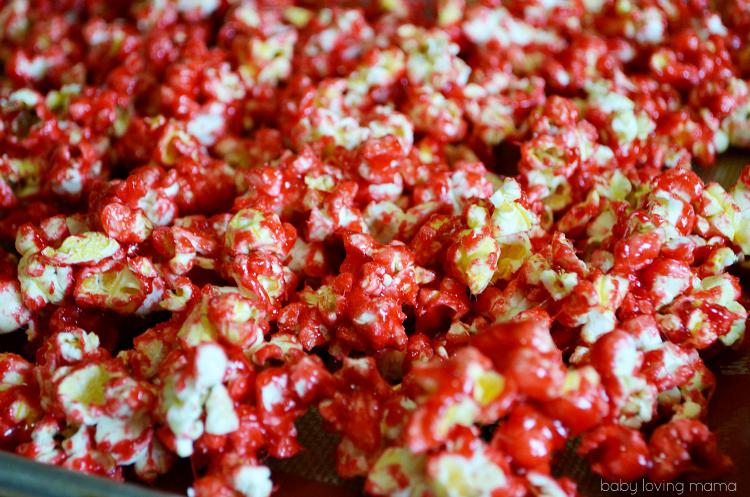 Bloody Popcorn with Raspberry Jello