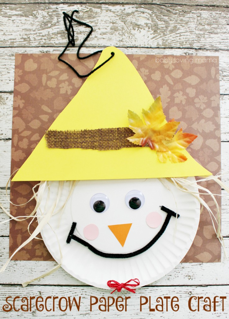 Scarecrow paper plate craft for thanksgiving for Fall ideas crafts