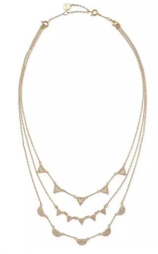 Stella Dot Pave Chevron Necklace Gold