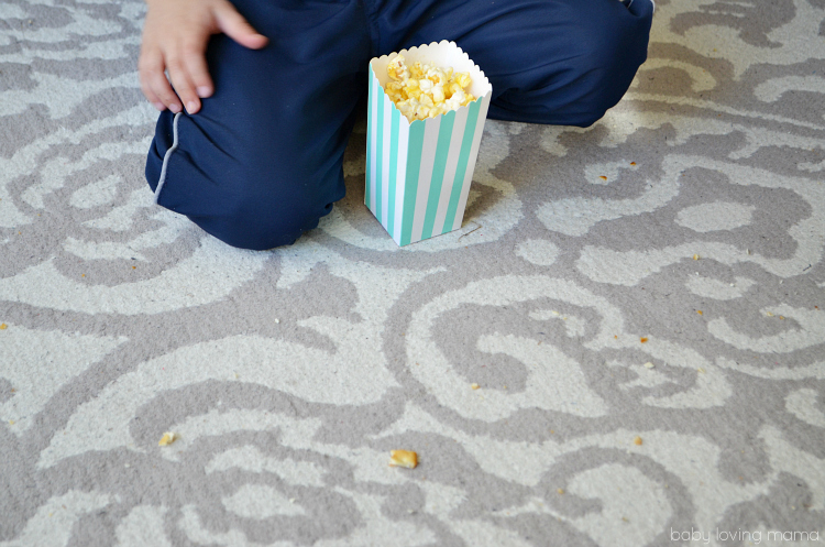 Messy Rug with Popcorn Hoover Vacuum