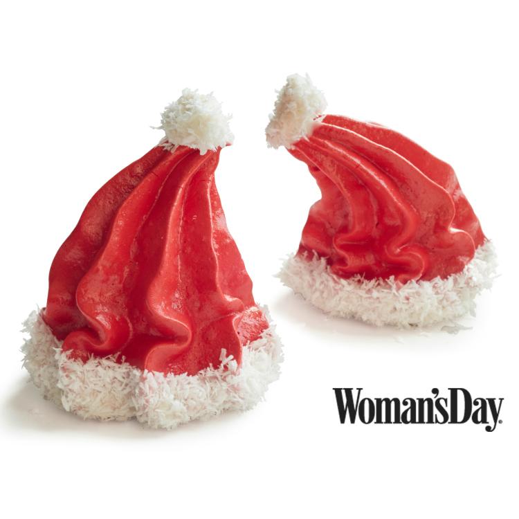 Santa Hat Meringues for Holiday Treats