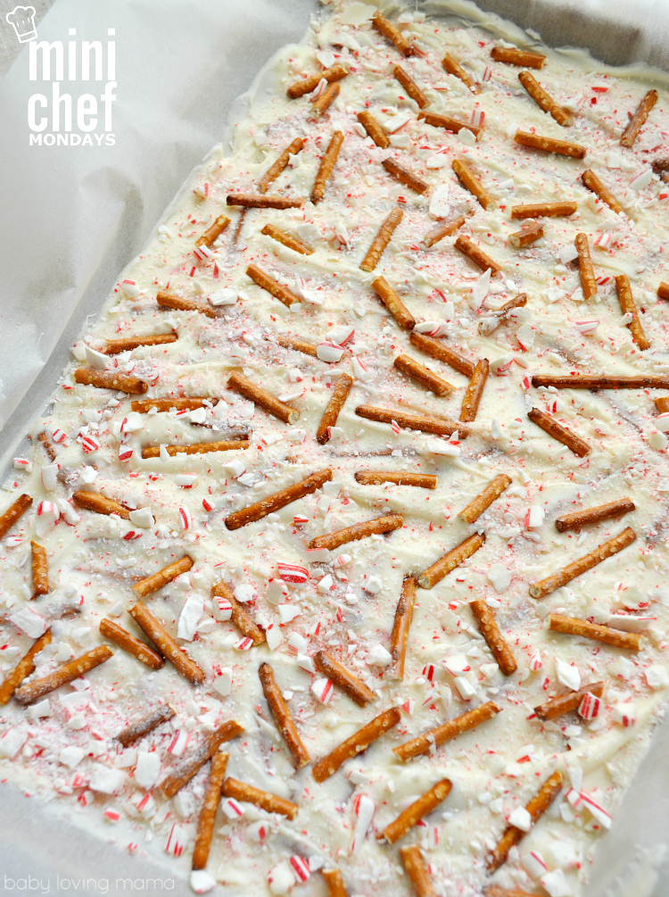 Peppermint Almond Bark Recipe with Pretzels | Mini Chef Mondays