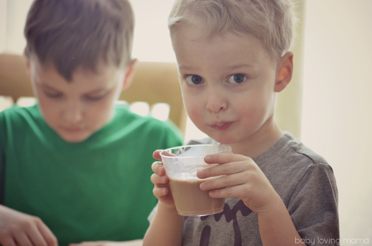 Drinking TruMoo Chocolate Milk while Crafting with Kids