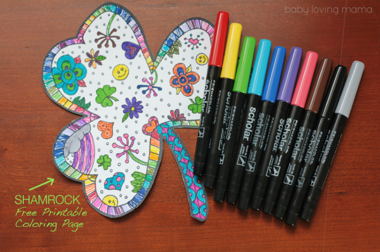 Shamrock Coloring Page Printable for St Patricks Day