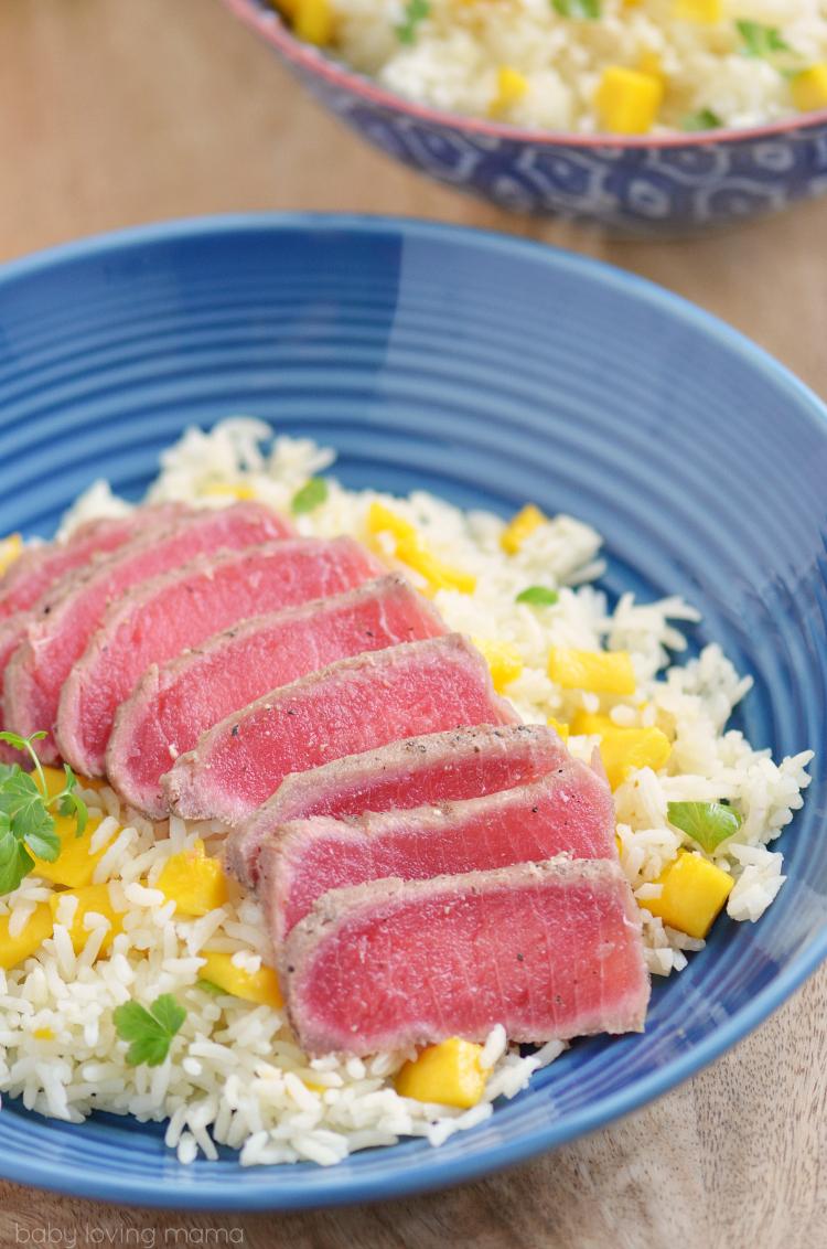 Seared Ahi Tuna with Mango Rice