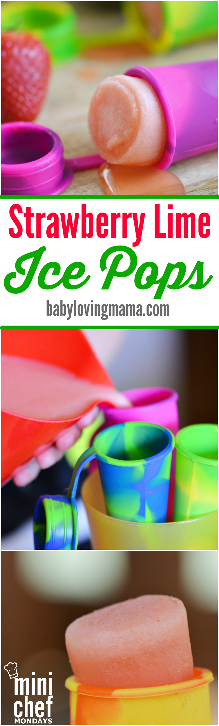 Strawberry Lime Ice Pops | Mini Chef Mondays - Finding Zest