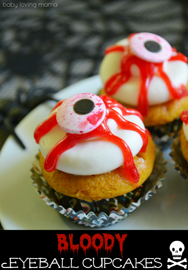 Baby Loving Mama bloody eyeball cupcakes for halloween